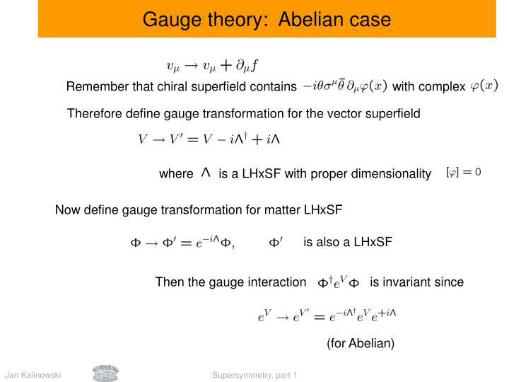Gauge theory:  Abelian case