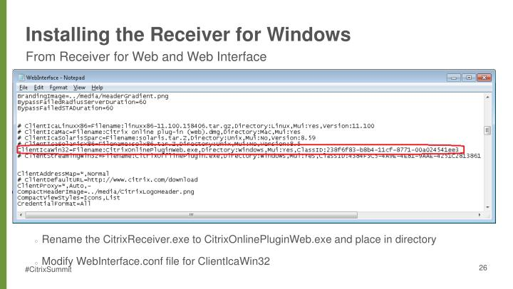 Installing the Receiver for Windows
