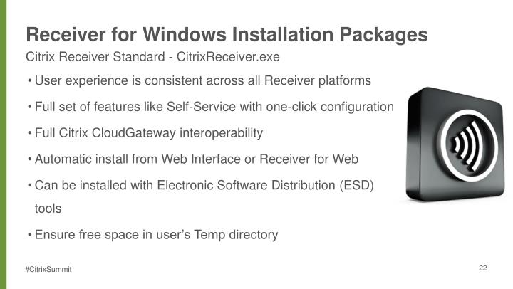 Receiver for Windows Installation Packages