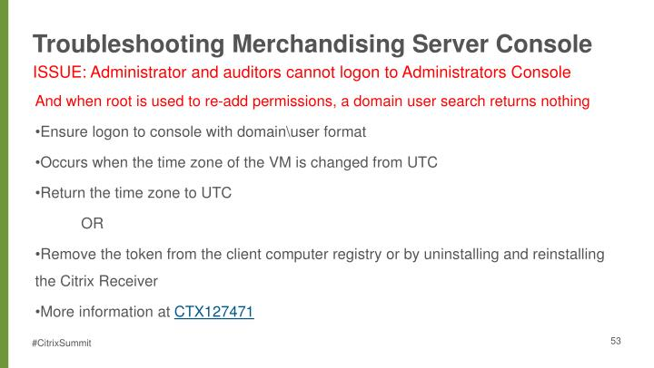 Troubleshooting Merchandising Server Console