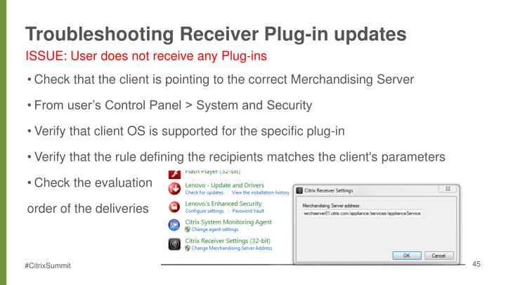 Troubleshooting Receiver Plug-in updates