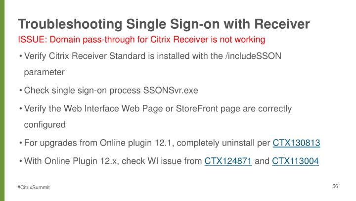Troubleshooting Single Sign-on with Receiver