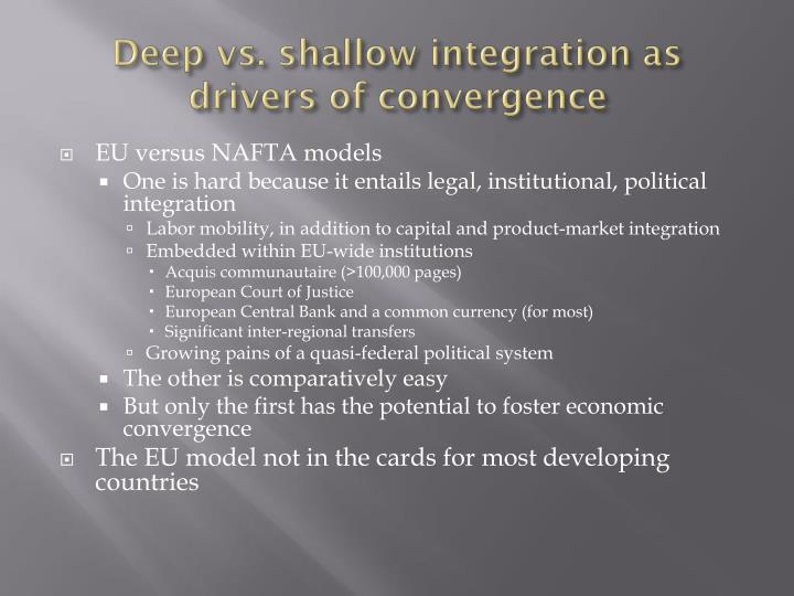 Deep vs. shallow integration as drivers of convergence