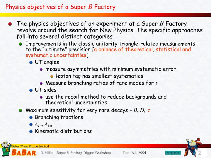 Physics objectives of a super b factory