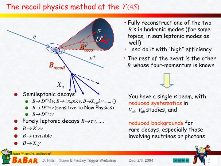 The recoil physics method at the 4 s