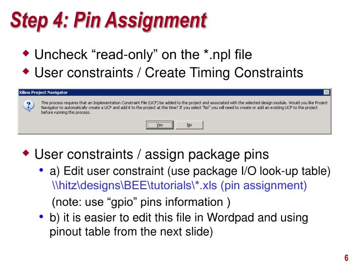 Step 4: Pin Assignment