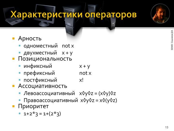 Характеристики операторов