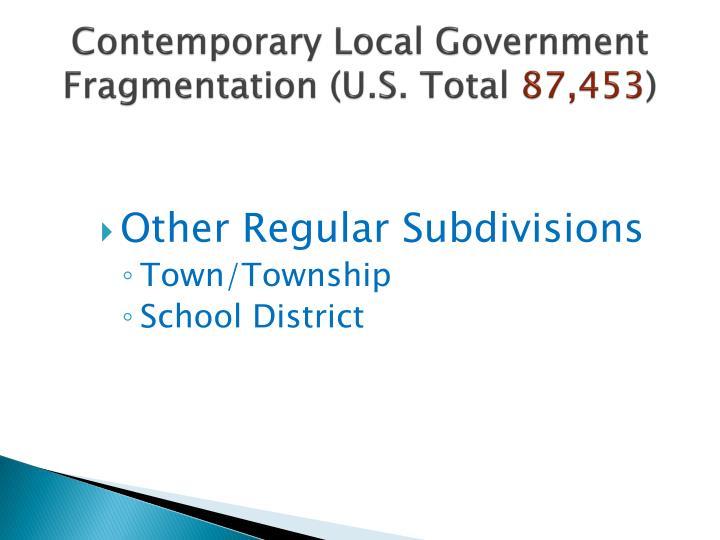 Contemporary Local Government Fragmentation (U.S. Total