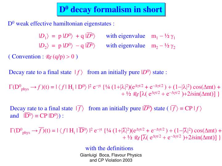 Decay rate to a final state
