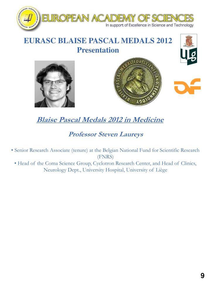 EURASC BLAISE PASCAL MEDALS 2012