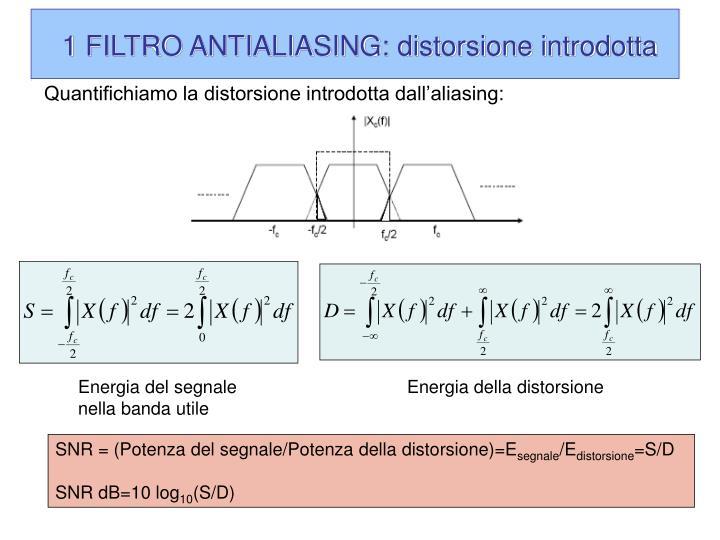 1 FILTRO ANTIALIASING: distorsione introdotta