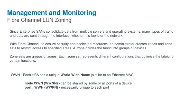 Management and Monitoring