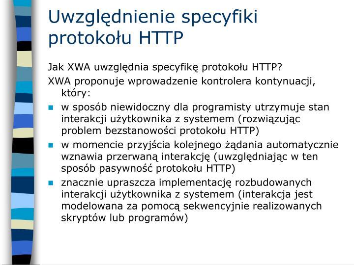 Uwzględnienie specyfiki protokołu HTTP