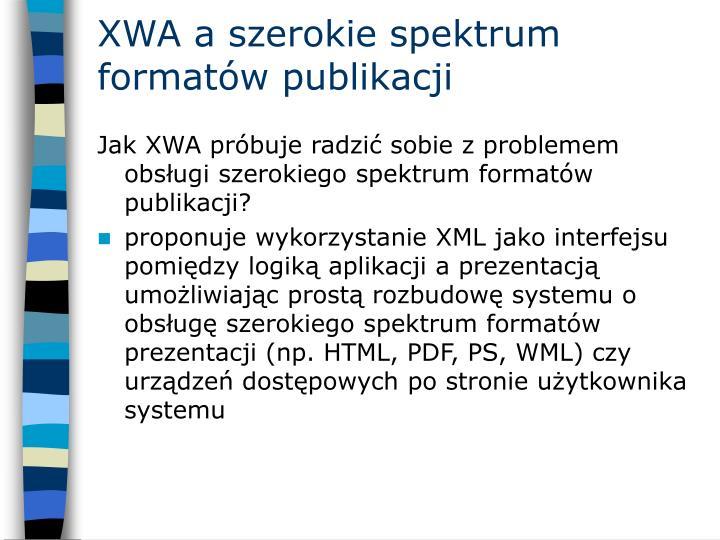 XWA a szerokie spektrum formatów publikacji