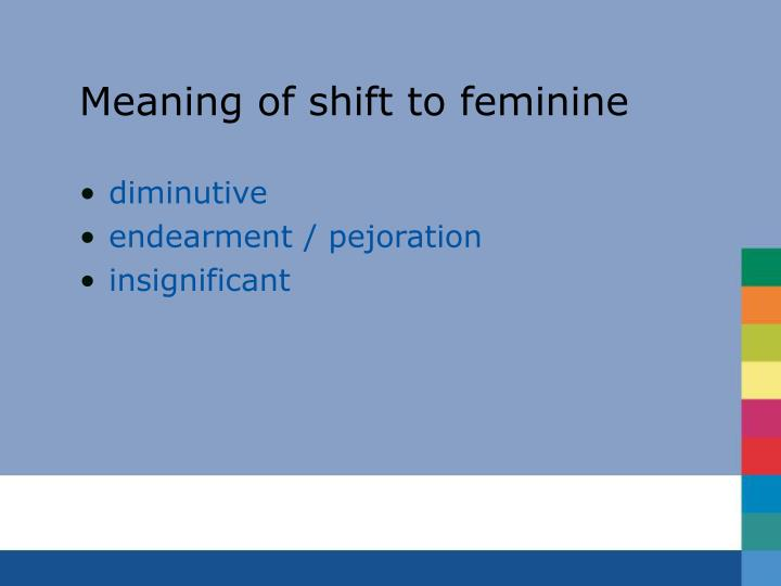Meaning of shift to feminine