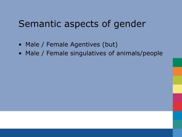 Semantic aspects of gender