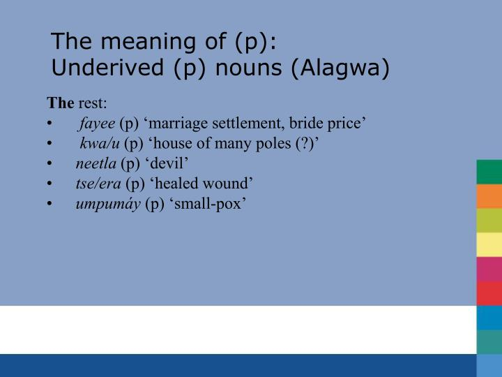 The meaning of (p):