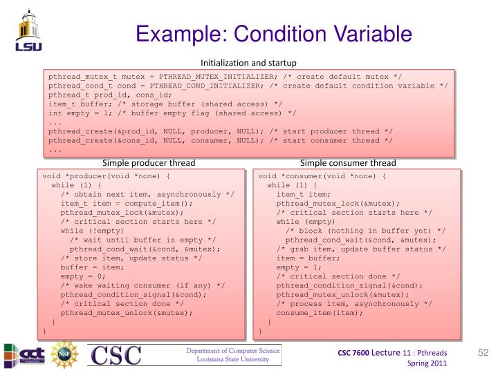 Example: Condition Variable