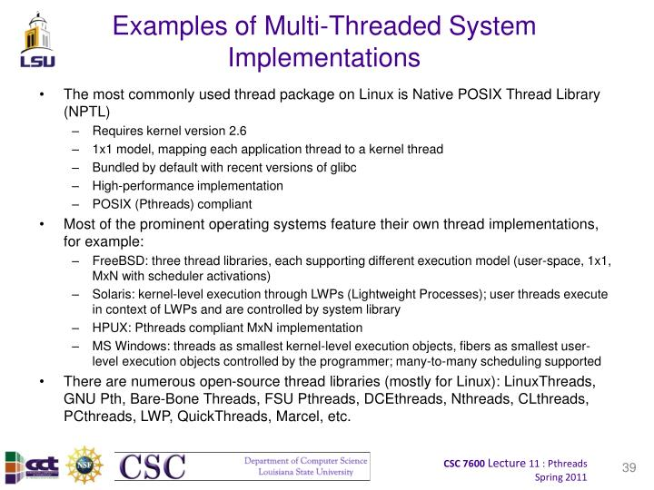 Examples of Multi-Threaded System Implementations