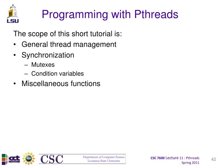 Programming with Pthreads