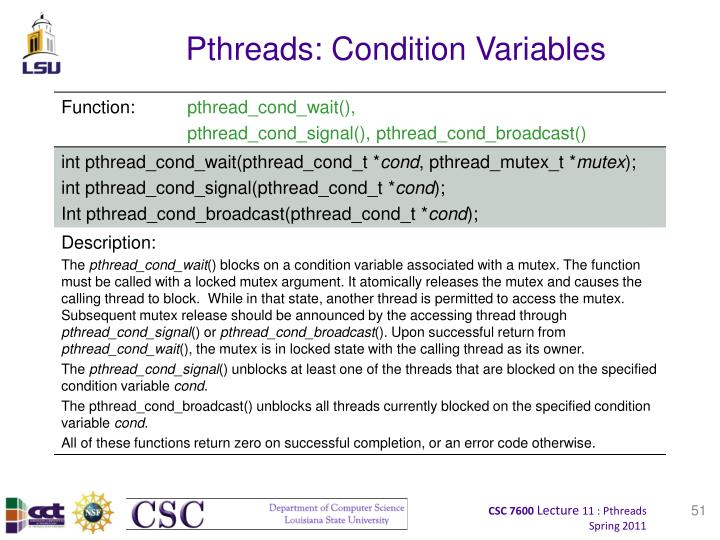 Pthreads: Condition Variables