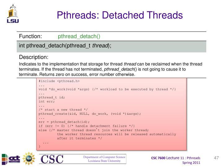 Pthreads: Detached Threads