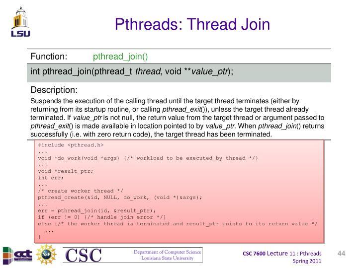 Pthreads: Thread Join