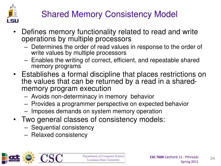 Shared Memory Consistency Model
