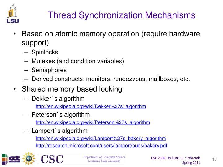 Thread Synchronization Mechanisms