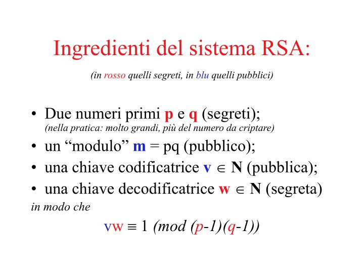 Ingredienti del sistema RSA: