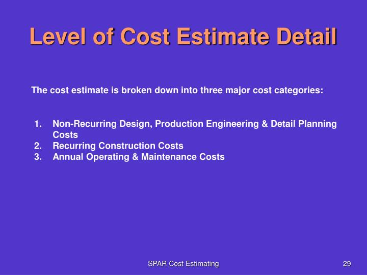 Level of Cost Estimate Detail