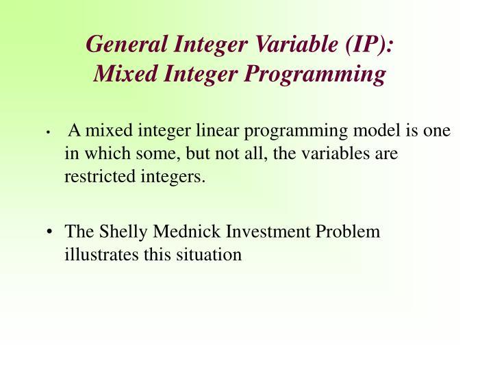 General Integer Variable (IP)