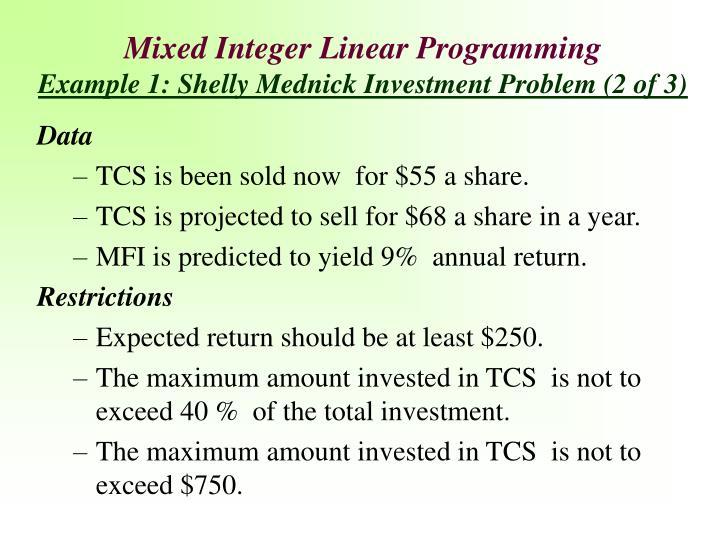 Mixed Integer Linear Programming