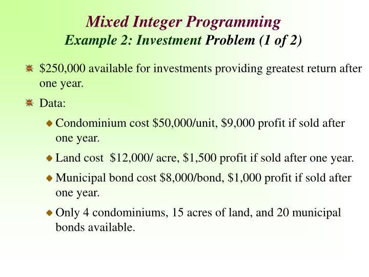 Mixed Integer Programming