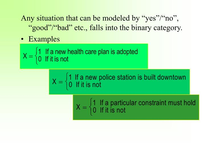"""Any situation that can be modeled by """"yes""""/""""no"""", """"good""""/""""bad"""" etc., falls into the binary category."""