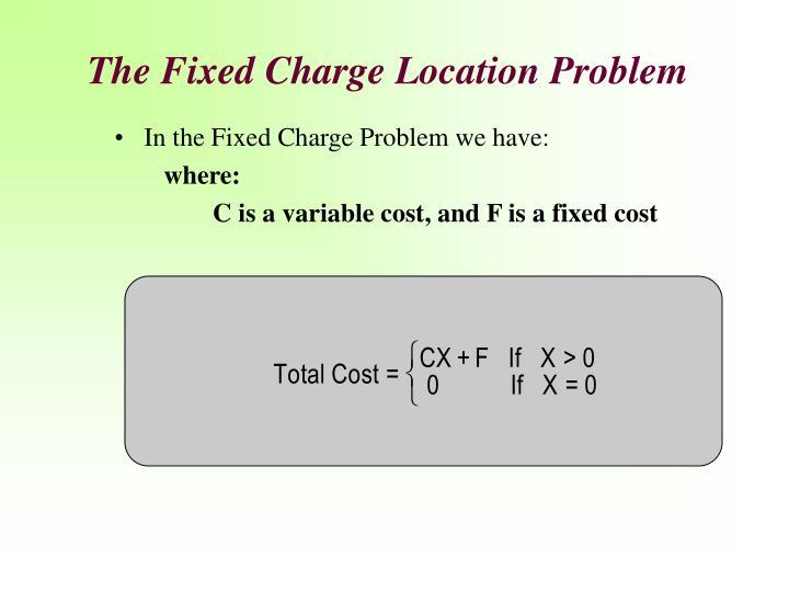 The Fixed Charge Location Problem