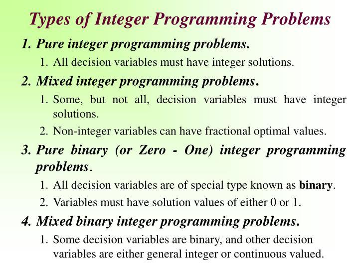 Types of Integer Programming Problems