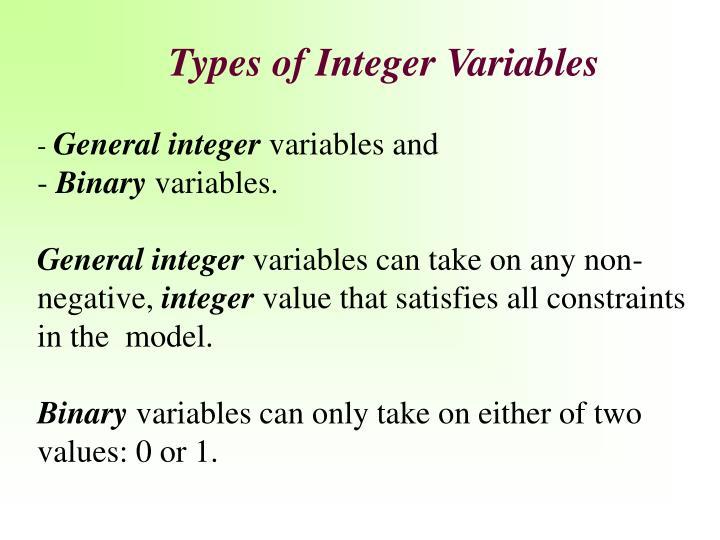 Types of Integer Variables