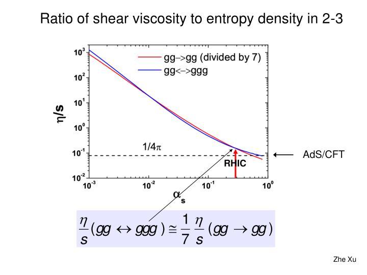Ratio of shear viscosity to entropy density in 2-3