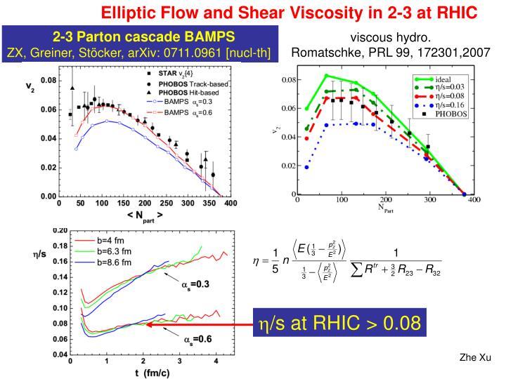 Elliptic Flow and Shear Viscosity in 2-3 at RHIC
