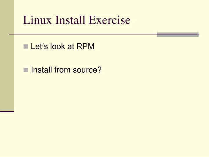 Linux Install Exercise