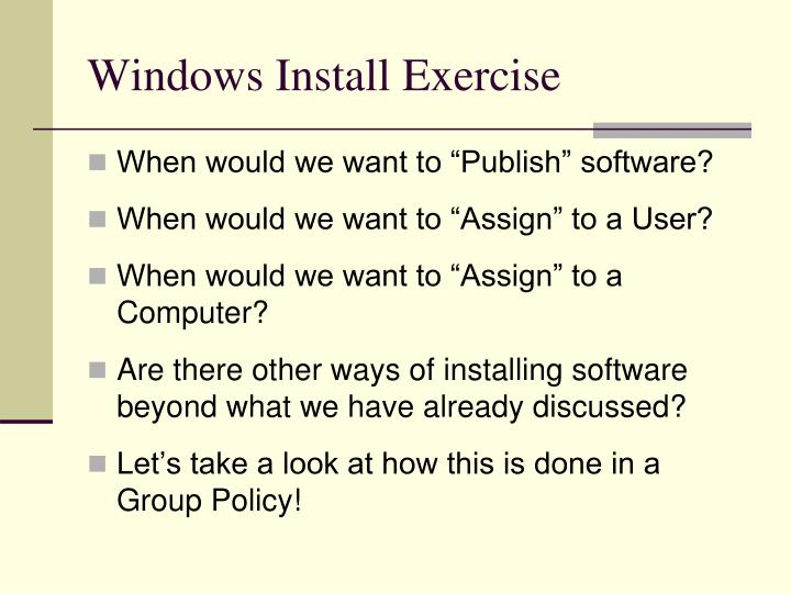Windows Install Exercise