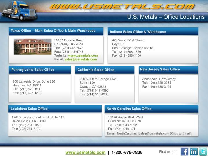 U.S. Metals – Office Locations