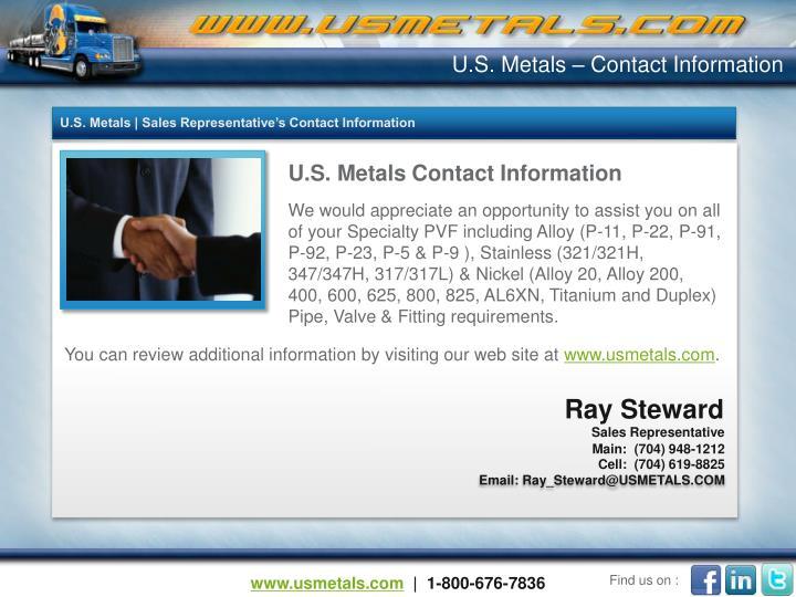 U.S. Metals – Contact Information
