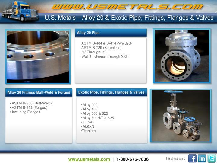 U.S. Metals – Alloy 20 & Exotic Pipe, Fittings, Flanges & Valves