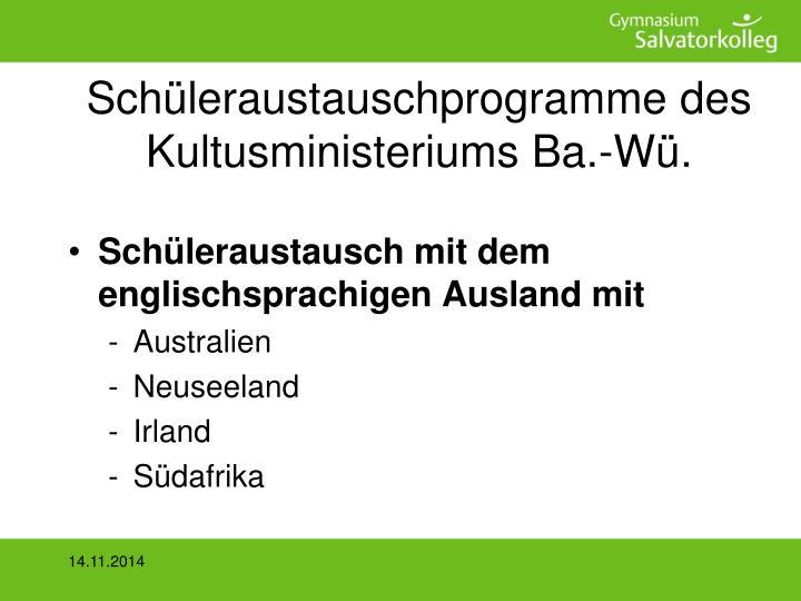 Schüleraustauschprogramme des Kultusministeriums Ba.-Wü.