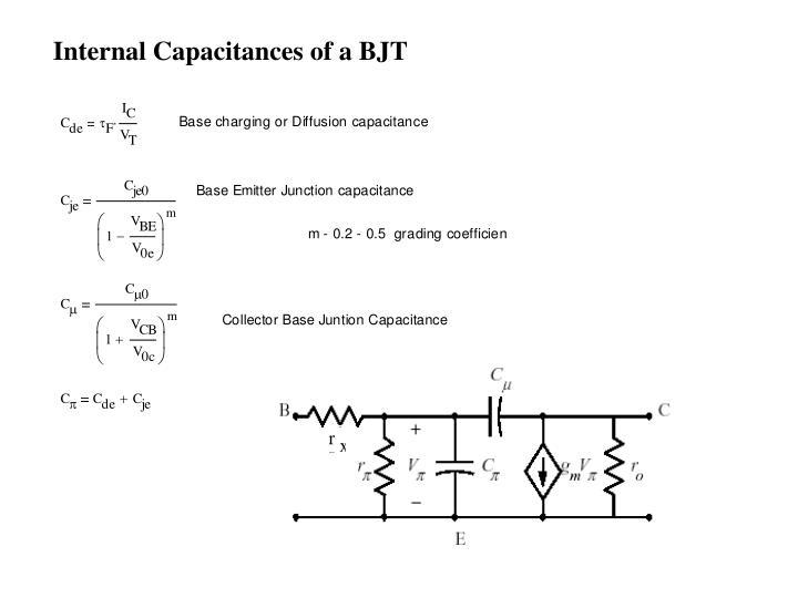 Internal Capacitances of a BJT