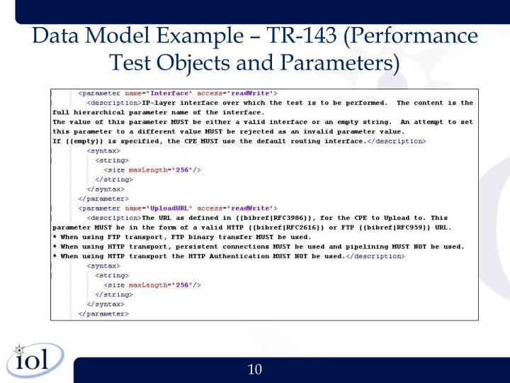 Data Model Example – TR-143 (Performance Test Objects and Parameters)