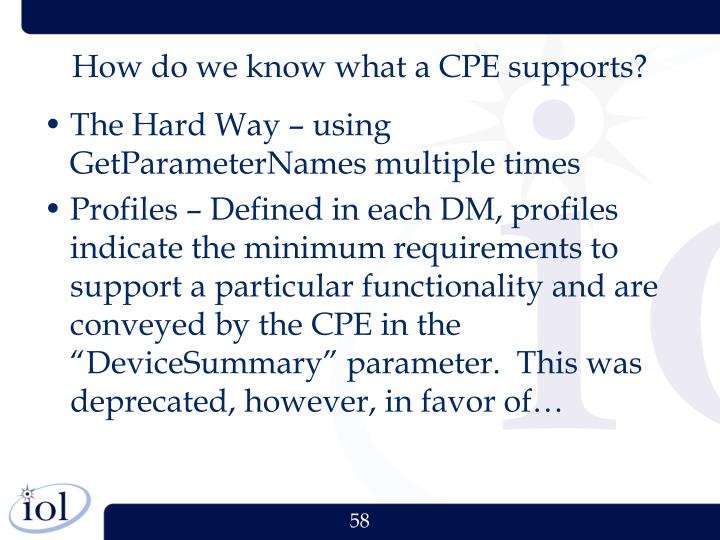 How do we know what a CPE supports?