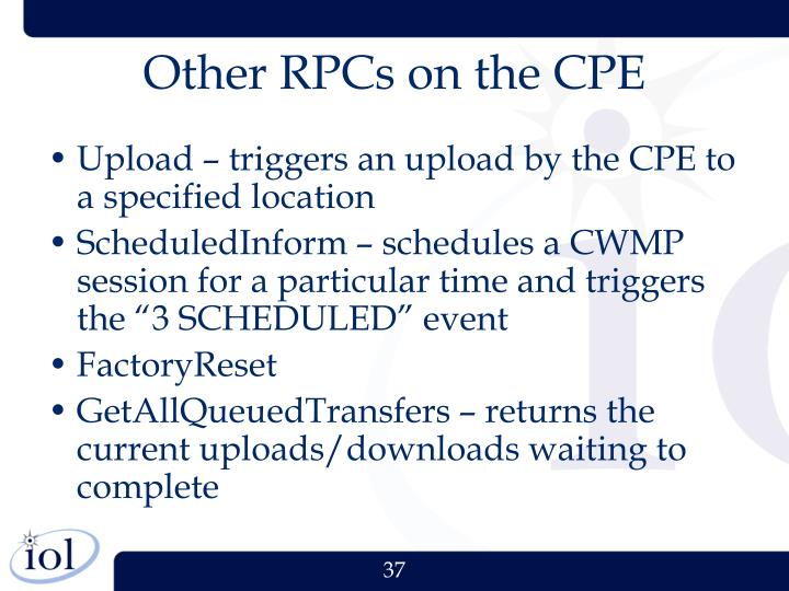 Other RPCs on the CPE